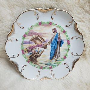 22k Gold Trim Jesus Walking On Water Decor Plate